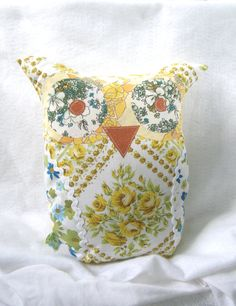 Owl plush made out of vintage bed sheets by VintageandWhimsy, $18.00