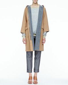 Contrast-Trim Wool Coat, Loose Slub-Knit Sweater & Double-Waist Slim Cuffed Pants by Halston Heritage