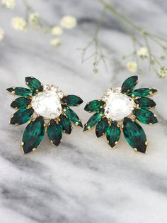 Emerald Earrings Emerald Bridal Earrings Swarovski by iloniti