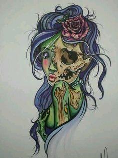Zombie pin up girl Pin Up Tattoos, Love Tattoos, Beautiful Tattoos, Body Art Tattoos, Tatoos, Ship Tattoos, Ankle Tattoos, Arrow Tattoos, Zombie Pin Up