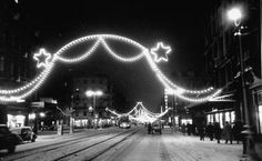Vintage Christmas Photograph ~ Street in Brussels, Belgium Decorated for Christmas. December, 1950.