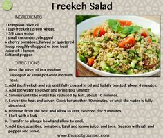 Freekeh is the hottest new ancient grain for modern times. This easy to cook, tasty and nutritious grain is packed full of protein and fiber. This salad is a lovely light meal or side. #Vegan #Recipes #Freekeh