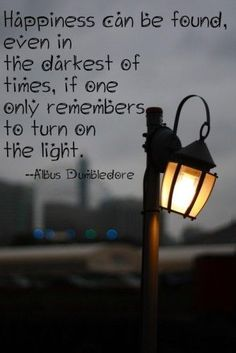 happiness can be found in the darkest of times, if one only remembers to turn on the light - Albus Dumbledore (Harry Potter Quotes) Albus Dumbledore, Citation Dumbledore, Amazing Inspirational Quotes, Inspiring Quotes About Life, Amazing Quotes, Best Quotes, Favorite Quotes, Famous Quotes, Favorite Things