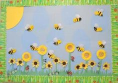 Bees and sunflowers bulletin board idea for preschool and kindergarten. Love the border.