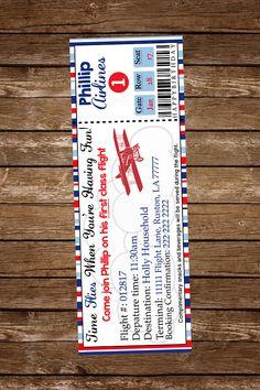 Airplane ticket Birthday Invitation, Vintage Airplane invitation, Airplane ticket invitation, Plane Ticket Invitation, Birthday Invitations, Invites, Vintage Invitations, Customized Invitations, Vintage Games, Vintage Ideas, Vintage Stuff, Planes Birthday