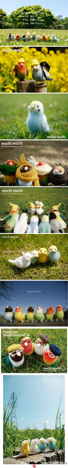 Needle Felted parrots by Mochi Mochi