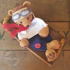 Melly Teddy Ragdoll Pilot Bear   MandMCrochetDesigns Crochet For Kids, Crochet Baby, Crochet Designs, Crochet Patterns, Lovey Blanket, Single Crochet Stitch, Yarn Over, Crochet Basics, My Face Book