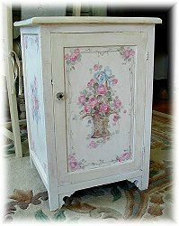 Debi Coules Shabby French Chic Art painted rose cupboard