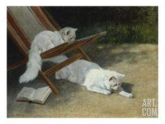 Two White Persian Cats with a Ladybird by a Deckchair, 19th Century Art Print by Arthur Heyer at Art.com