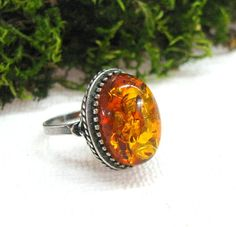 Soviet Retro Vintage Ring Natural Baltic Amber jewelry by SanaGem