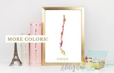 Chile map print Chile poster South America map print modern wall art Chile prints mosaic map Chile art print gold pink blue navy chilean art