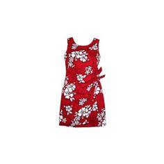Seastar Red Short Hawaiian Sarong Floral Dress   #hawaiiandress #floraldress #sundress #hawaiiandresses #hawaiianweddingdress #maxidress #sexyhawaiiandresses