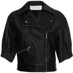 Thakoon Addition Gathered Sleeve Cropped Leather Bomber ($1,350) ❤ liked on Polyvore featuring outerwear, jackets, blouson jacket, flight bomber jacket, genuine leather jacket, cropped jacket and leather flight jacket