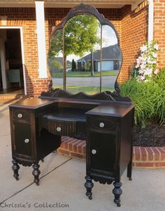 Black distressed vanity by Chrissie's Collection