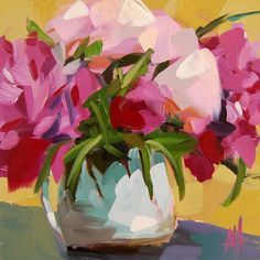 Pink Peonies in Pitcher no. 4 original floral still life oil painting by Angela Moulton