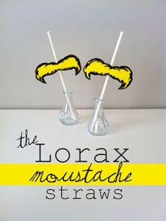 Lorax mustache straws