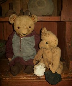 Grungy Bears...sweet & worn...Early Country Antiques.