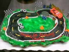 Cars, racetrack cupcake cake