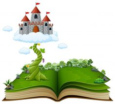 Story book with magic beanstalk and castle in the clouds Premium Vector Felt Puppets, Children Sketch, Felt Templates, Jack And The Beanstalk, Quilling Paper Craft, Library Displays, Big Bird, Conte, Nursery Rhymes