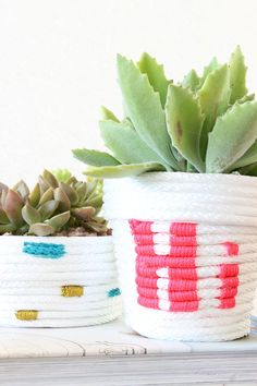 This DIY Rope Planter is so simple and cute! - Click for tutorial! by A Beautiful Mess