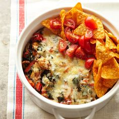 Try this Chicken Taco Casserole as a surprisingly low-cal take on your favorite Mexcian dish. More healthy casserole recipes: http://www.bhg.com/recipes/quick-easy/make-ahead-meals/healthy-casserole-recipes #myplate #casseroles