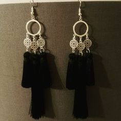 #orientaljewellery #orientalearrings #circleearrings #with #three #black #tassels #silverjewellery