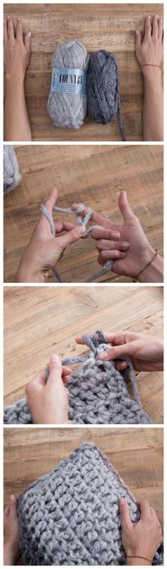 Anleitung: Kissen mit den Fingern häkeln / free diy crocheting tutorial: how to crochet a cushion with your fingers via Finger Crochet, Finger Knitting, Arm Knitting, Knitting Patterns, Crochet Patterns, Diy Crochet Pillow, Crochet Diy, Knitting Projects, Crochet Projects