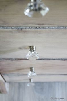 Acrylic knobs - Rustic dresser makeover - How to strip furniture - How to use liming wax - How to get a whitewashed look