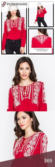 Embroidered pheasant red top READ PICURE! Embroidered top for those gals who love details! Rock this top with your favorite jeans. 95% Rayon, 5% Spandex- Embroidery peasant top - Tassel tie - Long bishop sleeve - Color: Dark Red Tops Tunics