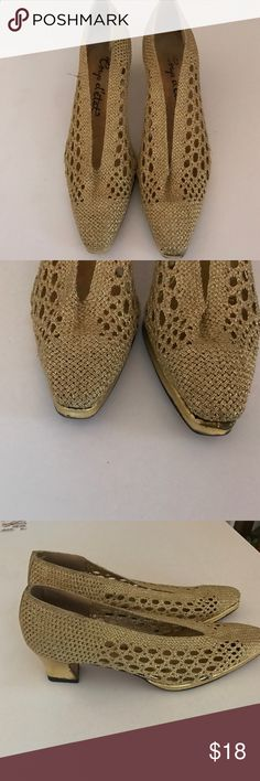 Coup d'etat vintage gold mesh heels 8.5m Very clean but these are vintage  made in Spain which means they are not perfect there is slight discolor on toes - that said very unique gold lame mesh gold heel 2 in size8.5m Coup d'etat Shoes Heels