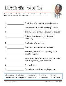 Free Nelson Mandela Vocabulary Worksheets and Puzzles More