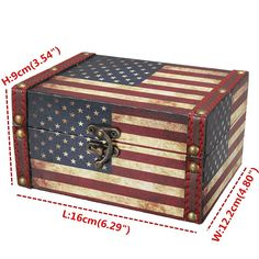 Store your most precious accessories in this eco-friendly vintage wooden jewelry box. The antiquated chest features carved designs with a classic American flag decoration, finished with a dated metal