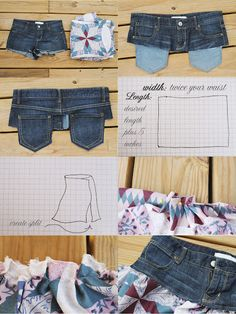 Upcycling old jeans - skirt