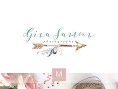 Arrow Floral Logo ,Romantic Logo, Watercolor Logo, Boho Logo, Photography Logo, Boutique Logo ,Shabby Chic Logo, Watermark