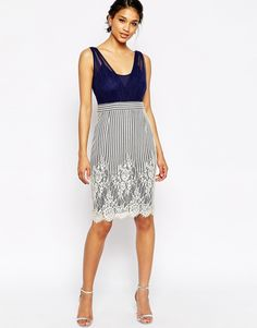 Little Mistress Wrap Front Dress with Lace Skirt
