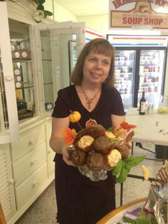 Muffin bouquet with pumpkin muffins and jewel muffins (hidden treasures of jam or apple pie filling inside)