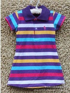 New Summer  Brand Children Polo Dress Infant/Baby Girls Polo Dress Striped Children/Kids Princess tennis Sports Dresses