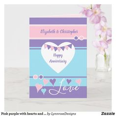 Pink purple with hearts and bunting anniversary card Wedding Anniversary Greeting Cards, Happy Anniversary, Love Wishes, Custom Greeting Cards, Plant Design, Happy Day, Thoughtful Gifts, Love Heart, Party Hats