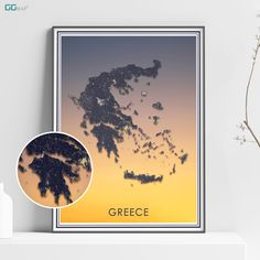 GREECE map - Greece sunset - Travel poster - Home Decor - Wall decor - Ellinikí Dimokratía - Greece gift - GGmap design - Hellenic Republic Greece Painting, Greece Map, New York City Map, Map Shop, Country Maps, Skyline Art, Custom Map, All Poster, Metallic Colors