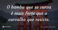 O bambu que se curva é mais forte que o carvalho que resiste. — Provérbio japonês