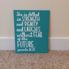 Proverbs Bible Verse Canvas She is Clothed in by QuotesOfNote, $18.00
