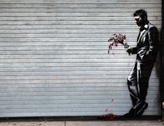 """Banksy: """"Waiting in vain...at the door of the club"""" (Man with Flowers), 2013"""