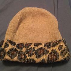 Leopard beanie. Brown leopard print beanie. Worn for one winter. Accessories Hats