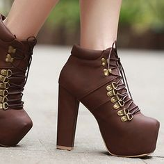 Spring Autumn Charming and Fashion Round Toe Chunky Super High Lace Up Short Rivets Brown PU Boots
