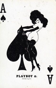 The Ace of Spades from Bicycle® Playboy Playing Cards Playing Cards Art, Vintage Playing Cards, Ace Card, Leroy Neiman, Urbane Kunst, Art Carte, Ace Of Spades, Pin Up Art, Deck Of Cards