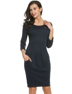 Black Women 3/4 Sleeve Solid Draped Applique Bodycon With Pockets Work Dresses
