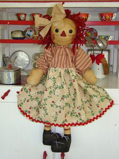 Primitive Raggedy Ann Fabric Cloth Doll by anniescupboards, via Flickr