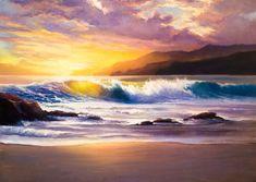 Художник Полина Сахарова картина искусство урок научиться рисовать маслом на холсте живопись арт холст масло акварельная заливка мастихин яркая море закат волна горы пена морская прилив океан  прозрачная облака рассвет