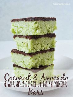 Coconut & Avocado Grasshopper Bars - Free of grain, gluten, eggs, dairy & refined sugar by raiasrecipes.com