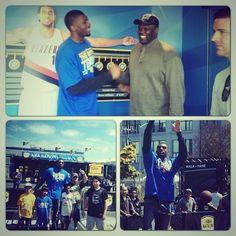 .@fezzyfel & former #Warriors center Adonal Foyle enjoying todays NBA Nation festivities in SF.